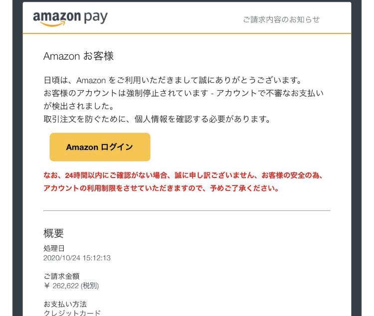 偽Amazonのメール内容